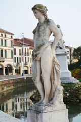 Statues and walls of castle in Castelfranco Veneto, in Italy, Europe