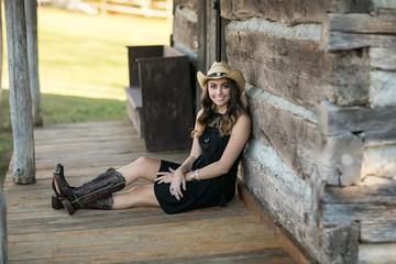 Beautiful brown hair Girl- cowgirl hat