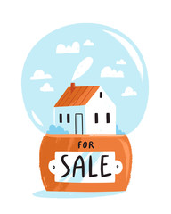 House for sale isolated illustration