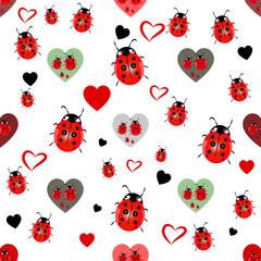 ladybug and heart seamless pattern
