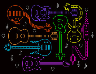 Guitar illustration in neon colors on a black background. For print or web