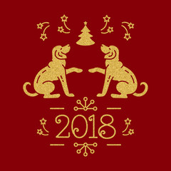 Dog Christmas, Year of the Dog 2018 Chinese Zodiac. Yellow golden dogs, snowflakes, christmas tree, fireworks on a red background. Vector New Year Card
