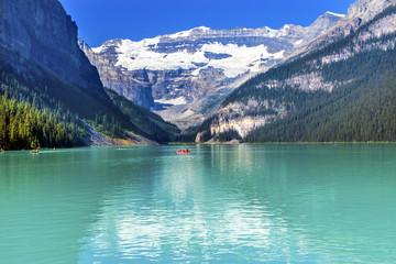 Lake Louise Canoes Snow Mountains Banff National Park Alberta Canada