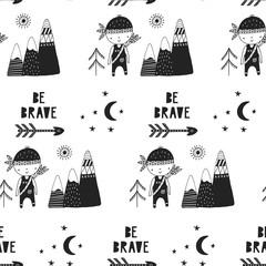 Be brave - Cute hand drawn nursery seamless pattern in scandinavian style. Monochrome vector illustration