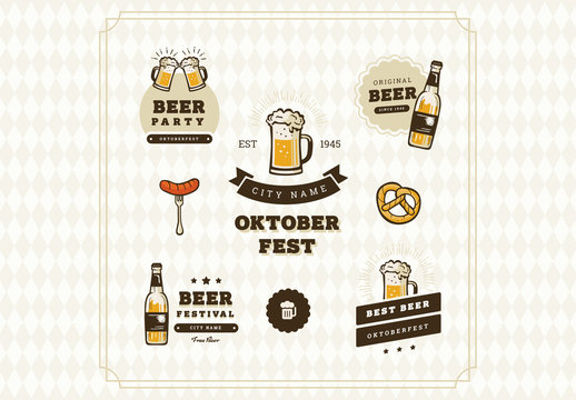 Oktoberfest Badge, Logo, Art and Icon Set