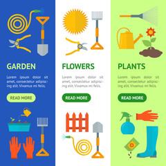 Cartoon Gardening Equipment Banner Vecrtical Set. Vector