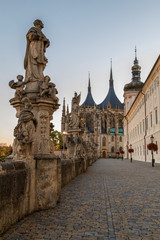 Kutna Hora.St. Barbara's Church  and the street along the Jesuit College.UNESCO world heritage site, Czech Republic.
