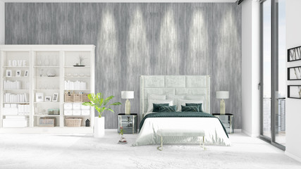 Scene of brand new interior in vogue with white rack, modern bed. 3D illustration, 3D rendering. Horizontal arrangement.