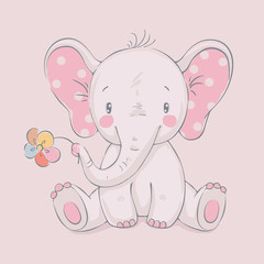 Cute elephant with a flower cartoon hand drawn vector illustration. Can be used for baby t-shirt print, fashion print design, kids wear, baby shower celebration, greeting and invitation card.