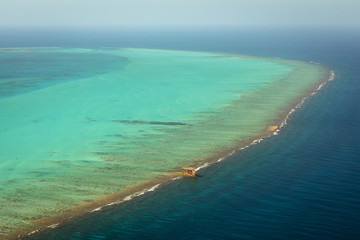 High angle view of blue ocean in Belize