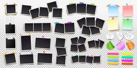 Big set of square vector photo frames on sticky tape, pins and rivets, and office paper sheets or sticky stickers with shadow. Vector illustration. Isolated on transparent background Wall mural