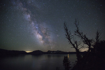 Milky Way Galaxy over Crater Lake National Park, Oregon, USA