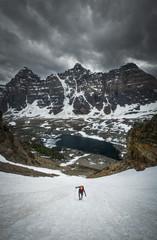 Person climbing on Wasatch Mountain, Banff, Alberta, Canada