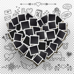 Set square vector photo frames in the form hearts. Vector illustration. Isolated on a transparent background