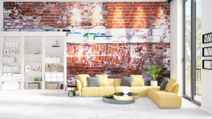 Scene with interior in vogue with white rack and yellow couch. 3D rendering, 3D illustration. Horizontal arrangement.