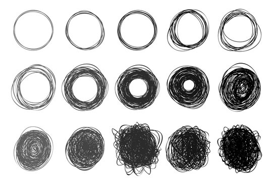 Set of hand drawn circles using sketch drawing scribble circle lines. Freehand drawing. Doodle circular logo elements. Vector illustration. Isolated on white background