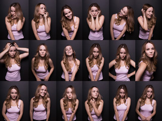 Set of photos with funny blonde woman on a black studio background