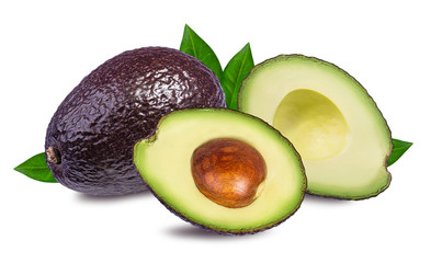 Wall Mural - Fresh avocado fruits  isolated on white background, with clipping path