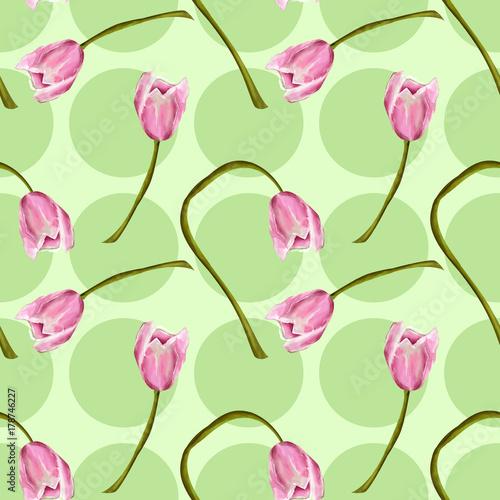 Sfondo Verde Con Tulipani Rosa Stock Photo And Royalty Free Images