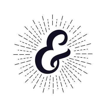 Elegant hand written ampersand with light rays, sunburst.