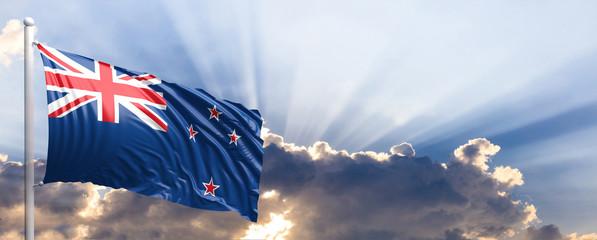 New Zealand flag on blue sky. 3d illustration