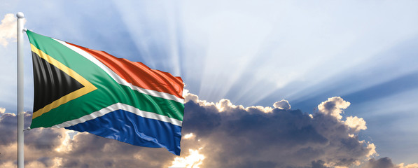 South Africa flag on blue sky. 3d illustration