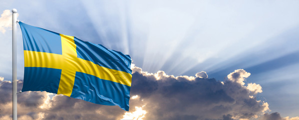 Sweden flag on blue sky. 3d illustration