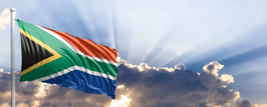 South Africa flag on blue sky. 3d illustration