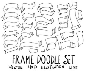 Set of Ribbon Banner illustration Hand drawn doodle Sketch line vector eps10