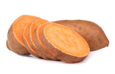 Sweet potatoes, isolated on white