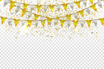 Vector realistic isolated party flags and golden confetti for decoration and covering on the transparent background. Concept of birthday, holiday and celebration.