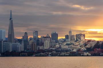 San Francisco Bay area Skyline sunset