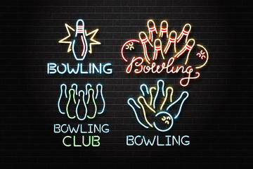 Vector set of realistic isolated neon sign for bowling for decoration and covering on the wall background. Concept of game sport and bowling club.