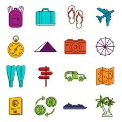 Travel icons doodle set