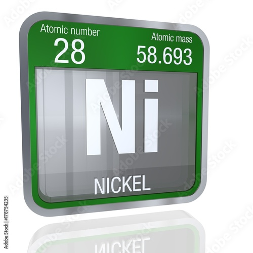 Nickel Symbol In Square Shape With Metallic Border And Transparent