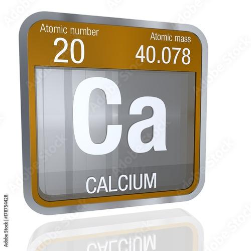 Calcium Symbol In Square Shape With Metallic Border And Transparent