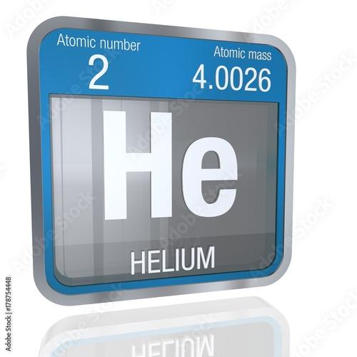 Helium Symbol In Square Shape With Metallic Border And Transparent