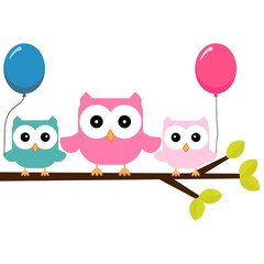 owls on a branch with air balloons