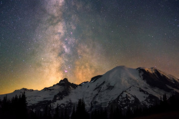 Milky way over Mount Rainier, Washington