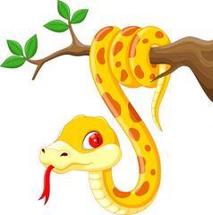 Cute cartoon snake on branch
