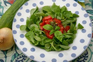 Feldsalat mit roter Paprika