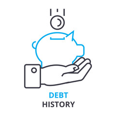 debt history concept, outline icon, linear sign, thin line pictogram, logo, flat vector, illustration
