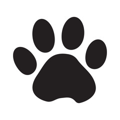 Black silhouette animal paw track with shadow isolated on white background. Vector illustration