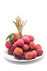 Fresh Fruit Lychee On White Ceramic Tableware On White Background
