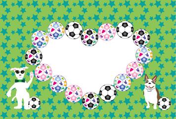 サングラスのポップな犬とサッカーボールの写真フレームの葉書テンプレート