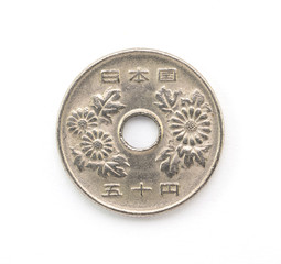 Close up old japanese coin (50 yen)