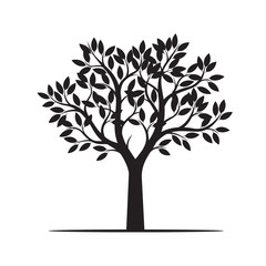 Beauliful Tree with Leaves. Vector Illustration.