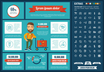 Travel infographic template and elements. The template includes illustrations of hipster men and huge awesome set of thin line icons. Modern minimalistic flat vector design.