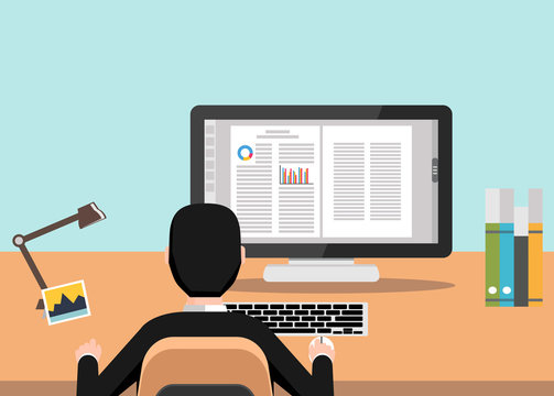 Businessman using computer at desk. Working with word processor illustration.