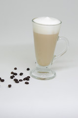 Coffee latte in a tall glass